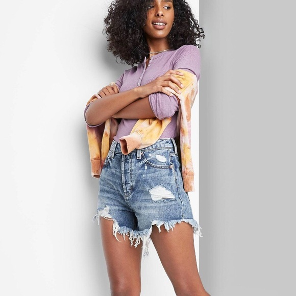 Wild Fable Jean shorts with frayed hem